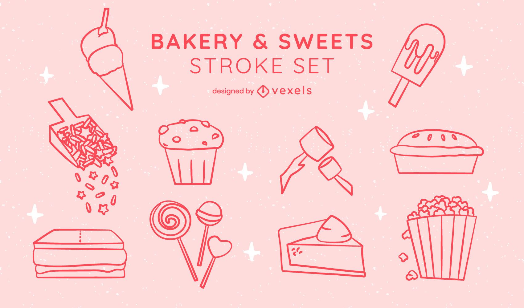 Sweet bakery dessert sticker line art set