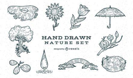 Conjunto de elementos desenhados à mão da floresta natural