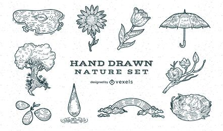 Nature forest hand-drawn element set
