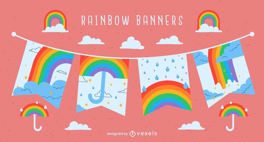 Rainbow raining colorful banner set
