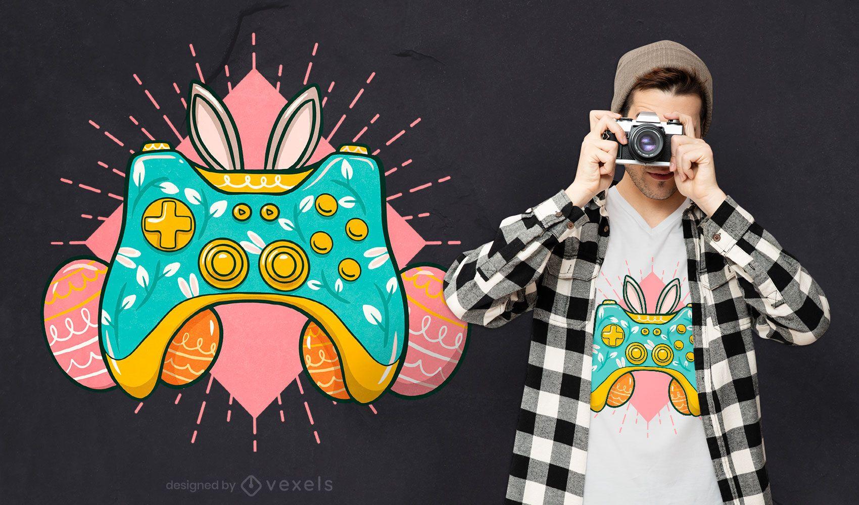 Diseño de camiseta de joystick de pascua