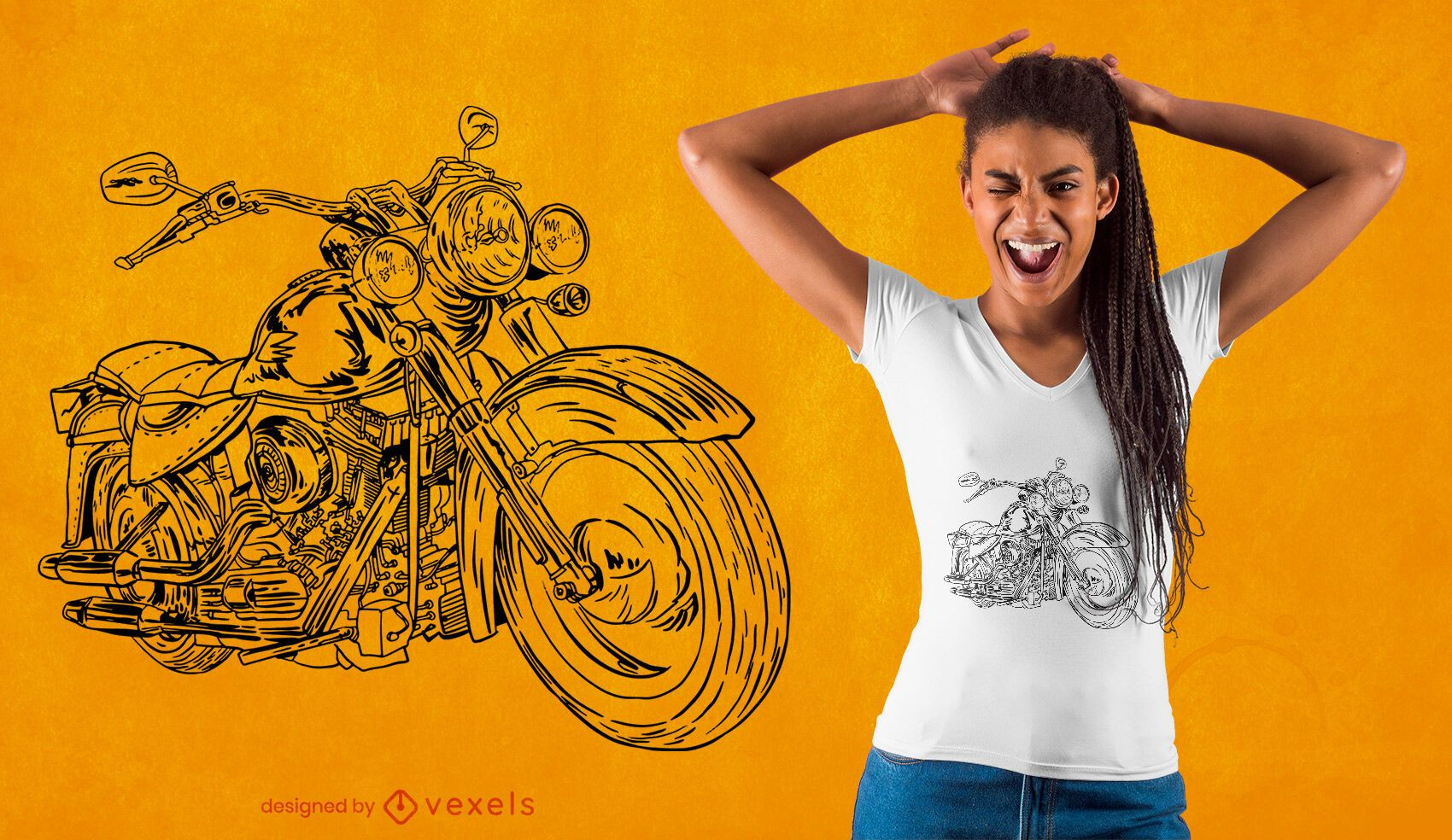 Hand drawn motorcycle t-shirt design