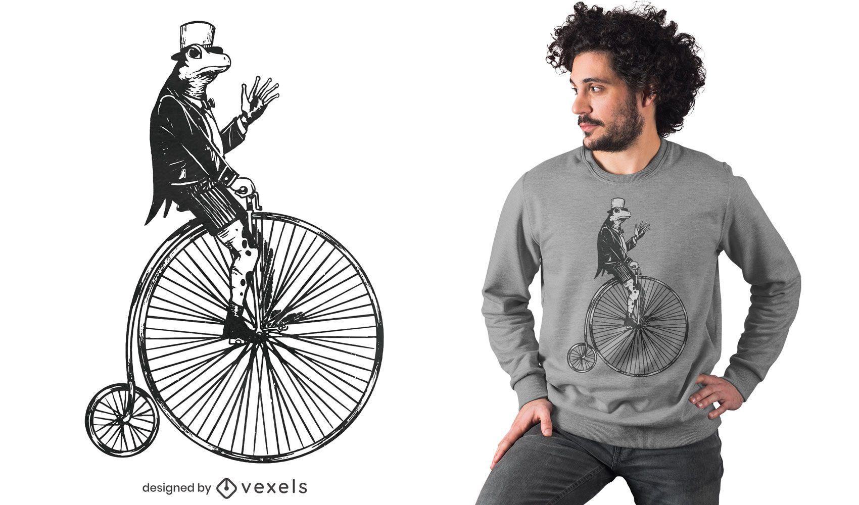 Dise?o de camiseta de rana de rueda alta.