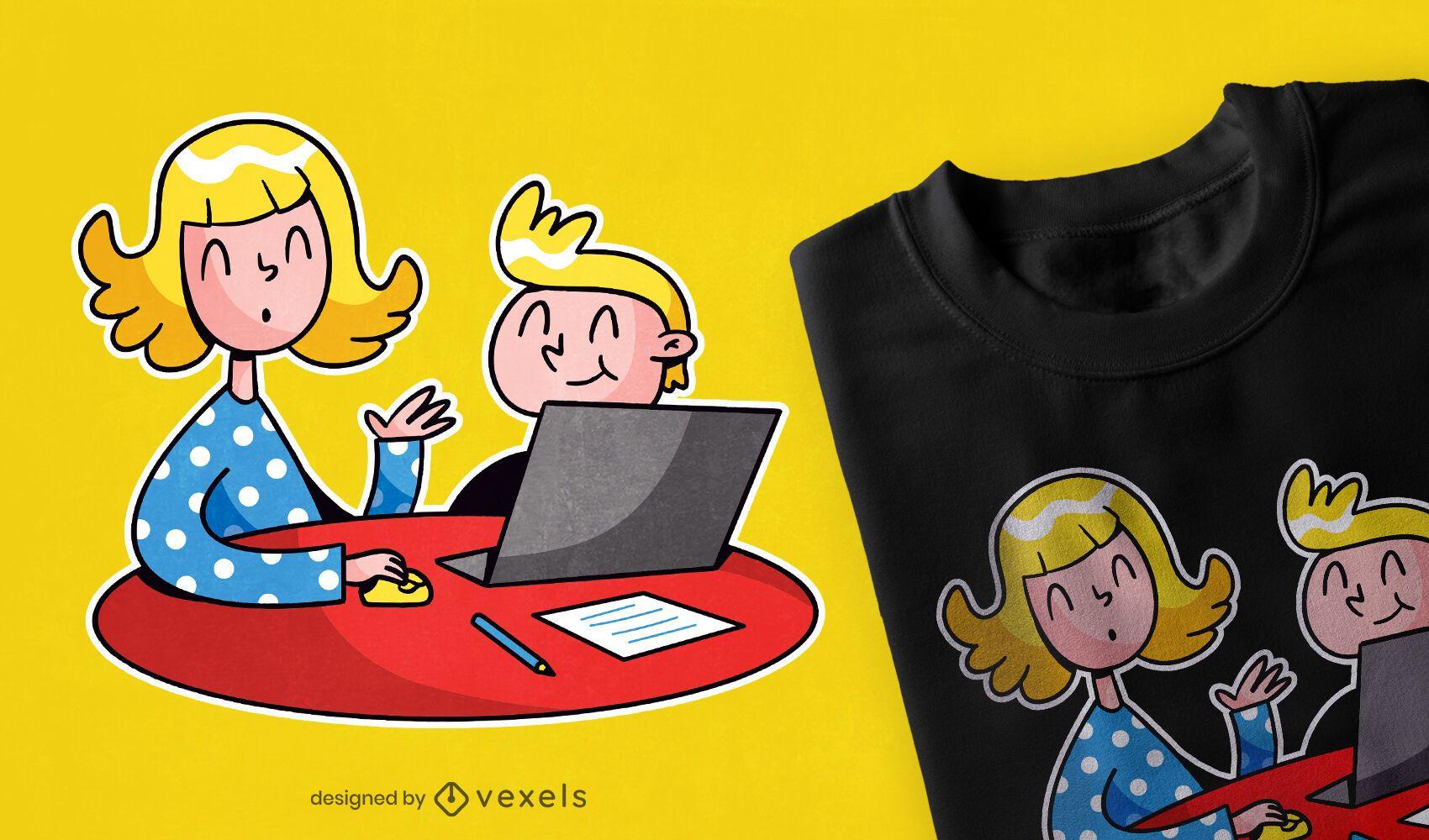 Diseño de camiseta de madre de educación en el hogar.
