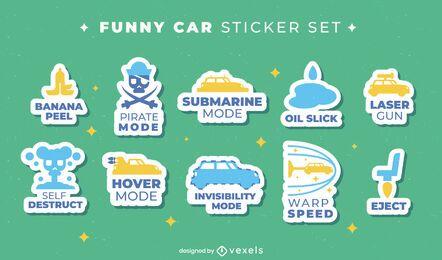 Conjunto de ícones de adesivos de transporte de carro