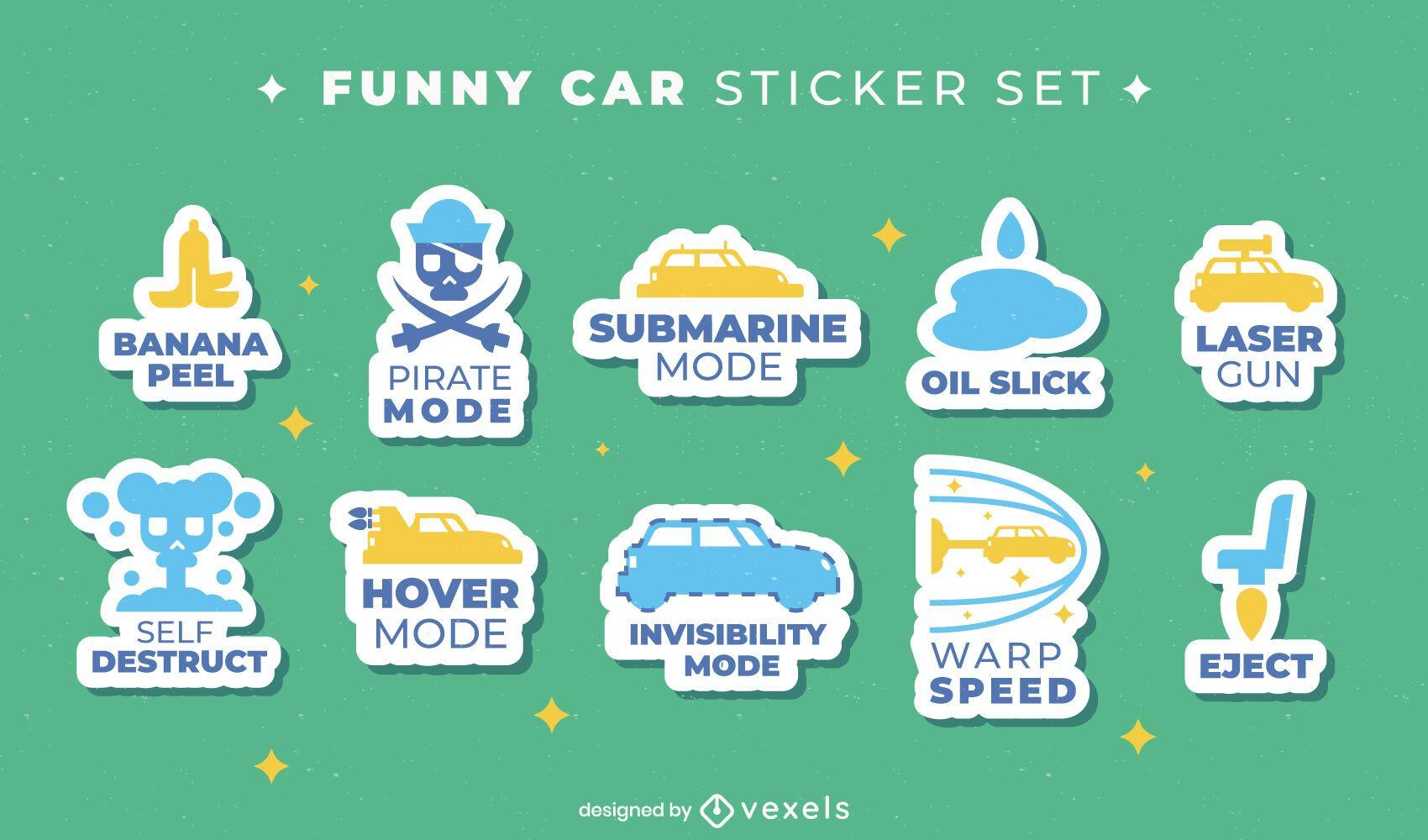 Car transportation sticker icon set