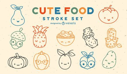 Kawaii food ingredients line art set