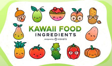 Kawaii food ingredients gradient set