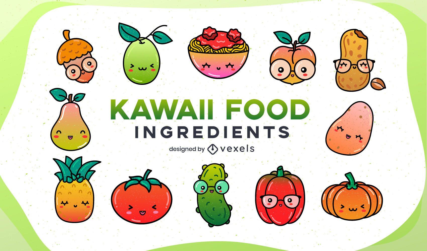 Conjunto de gradiente de ingredientes de comida kawaii