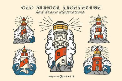 Lighthouse vintage hand-drawn color set
