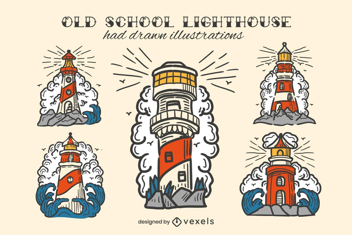 Lighthouse vintage hand-drawn color set