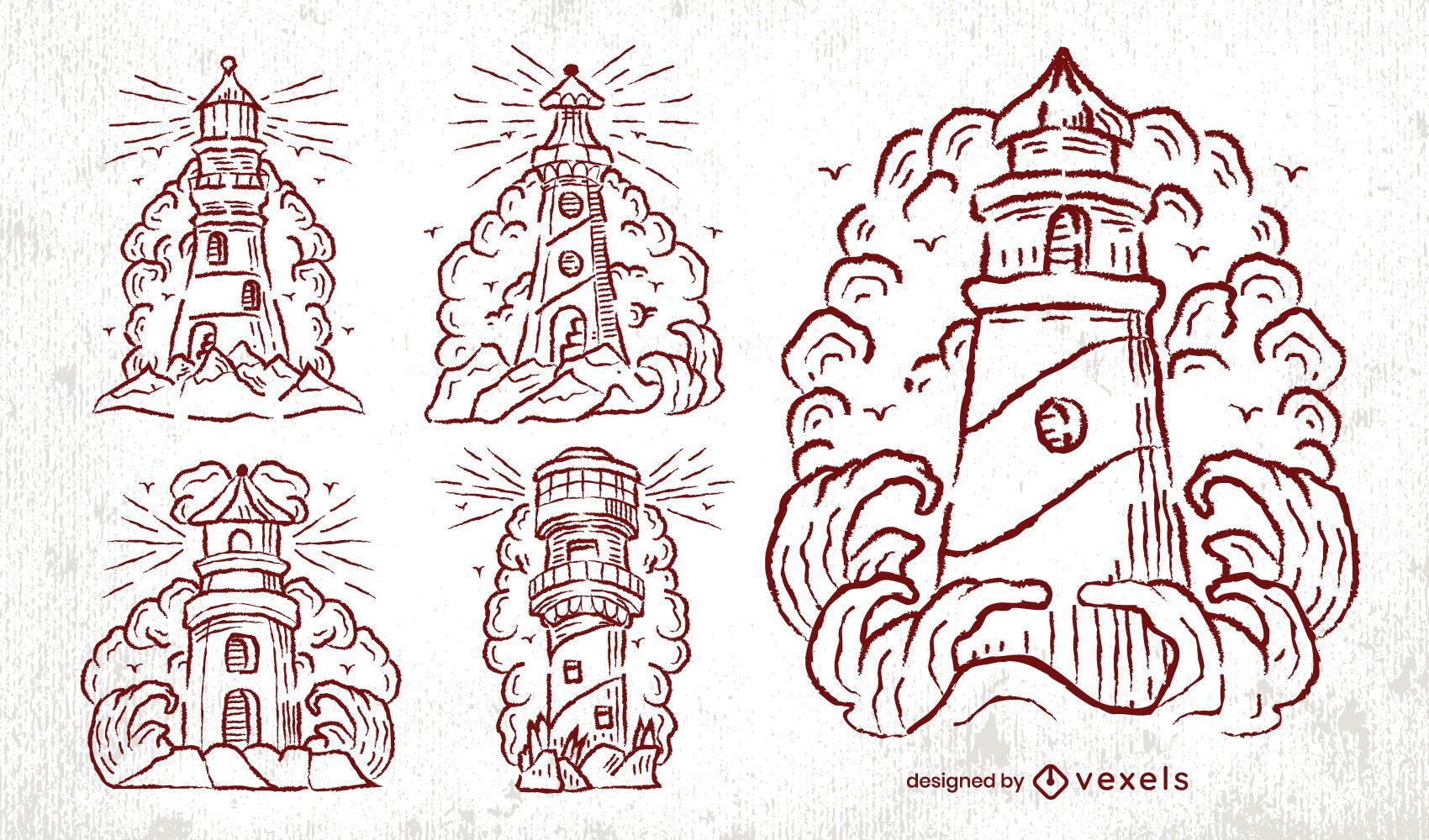 Lighthouse vintage hand-drawn set