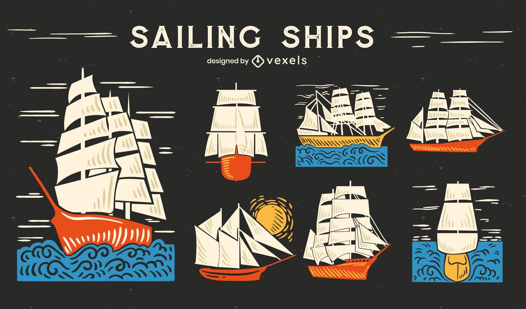 Velero barco océano dibujado a mano conjunto