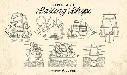 Sailboat ships ocean line art set