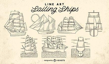 Segelboot Schiffe Ozean Linie Kunst Set
