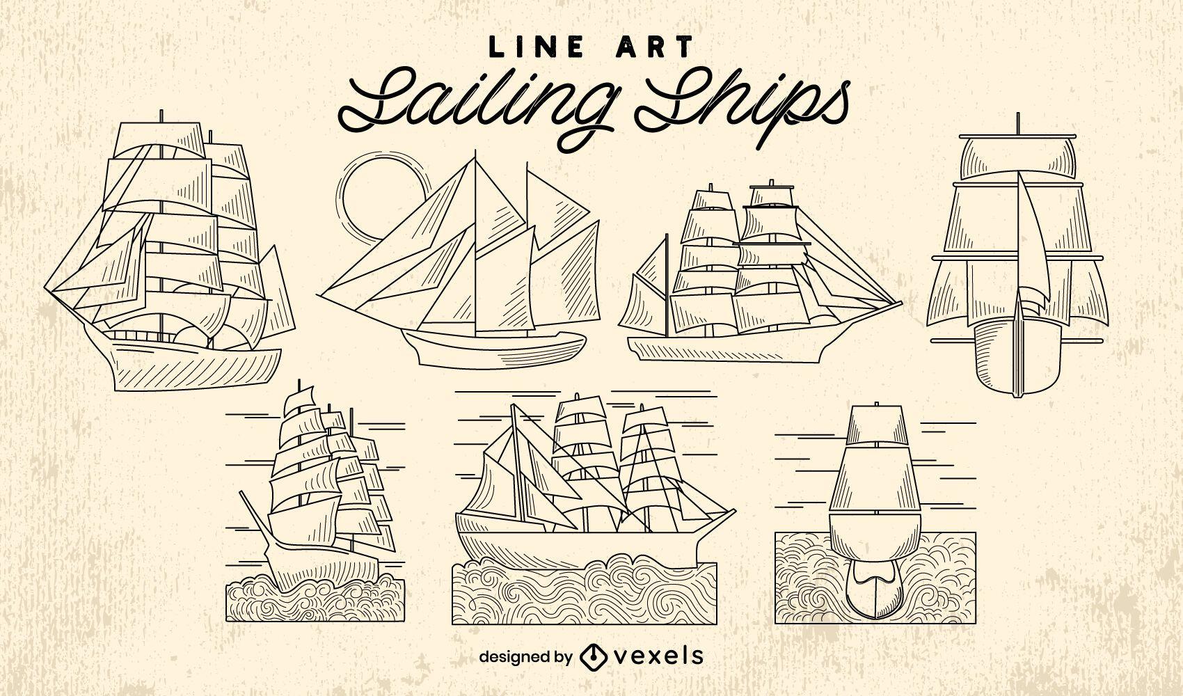 Sailboat ships ocean line art set