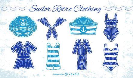 Conjunto de estilo retro de ropa de uniforme de marinero