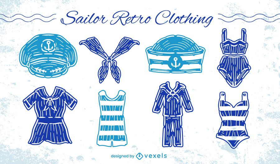 Sailor uniform clothes retro style set