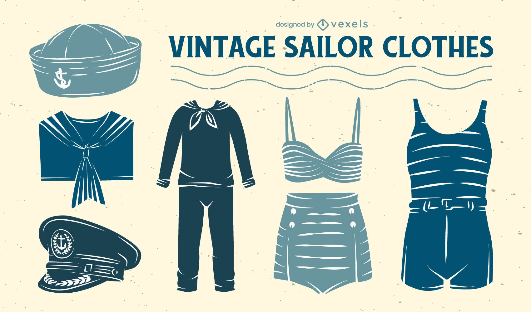 Conjunto de ropa de uniforme de marinero estilo vintage