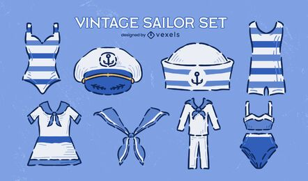 Sailor uniform clothes vintage doodle set
