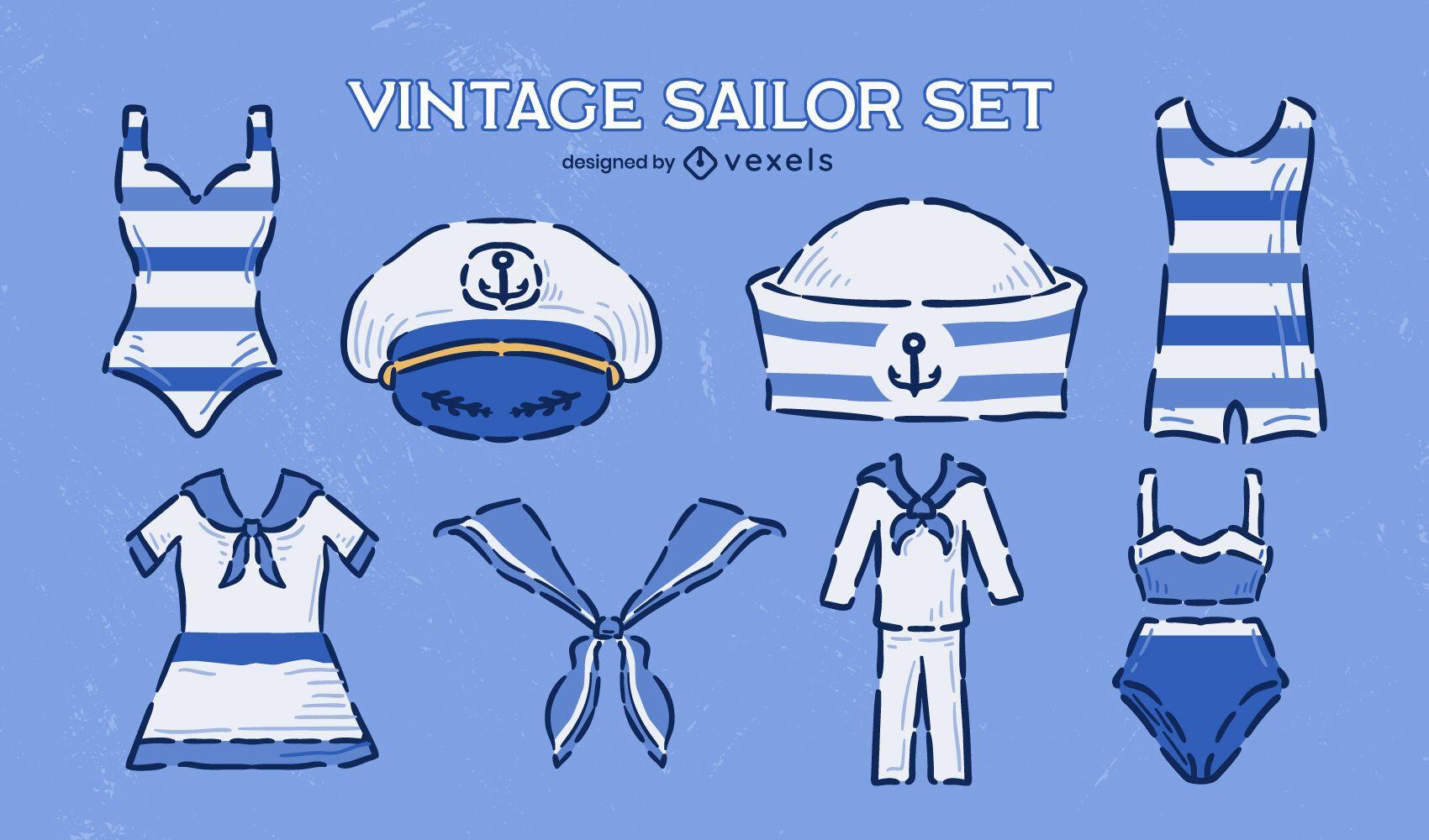 Conjunto de doodle vintage de ropa de uniforme de marinero