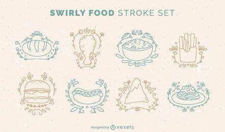 Conjunto de estilo doodle de comida deliciosa