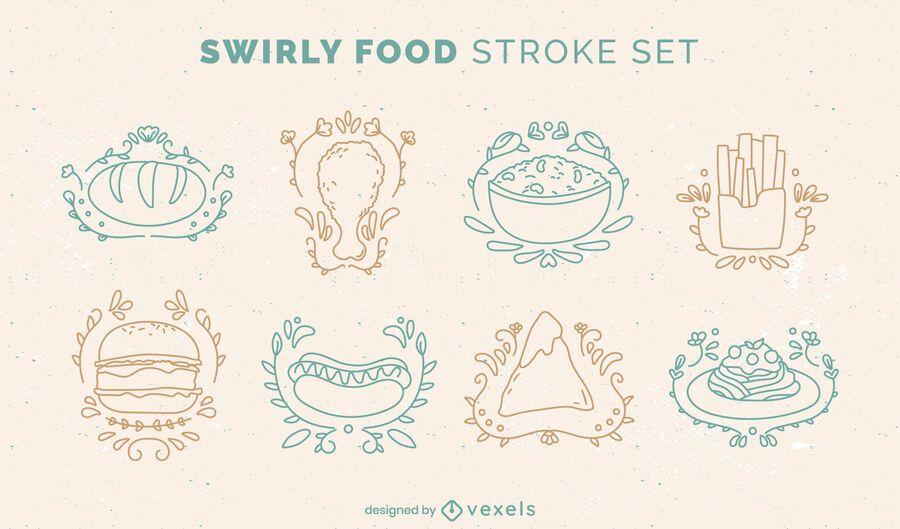 Conjunto de estilo de doodle de comida deliciosa
