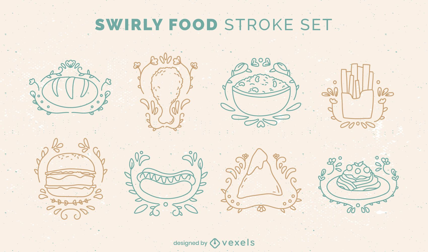Delicious food doodle style set
