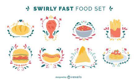 Delicious fast food doodle color set