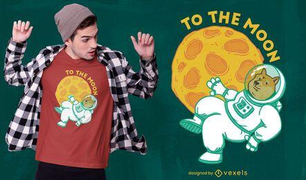 Design de t-shirt da lua Dogecoin