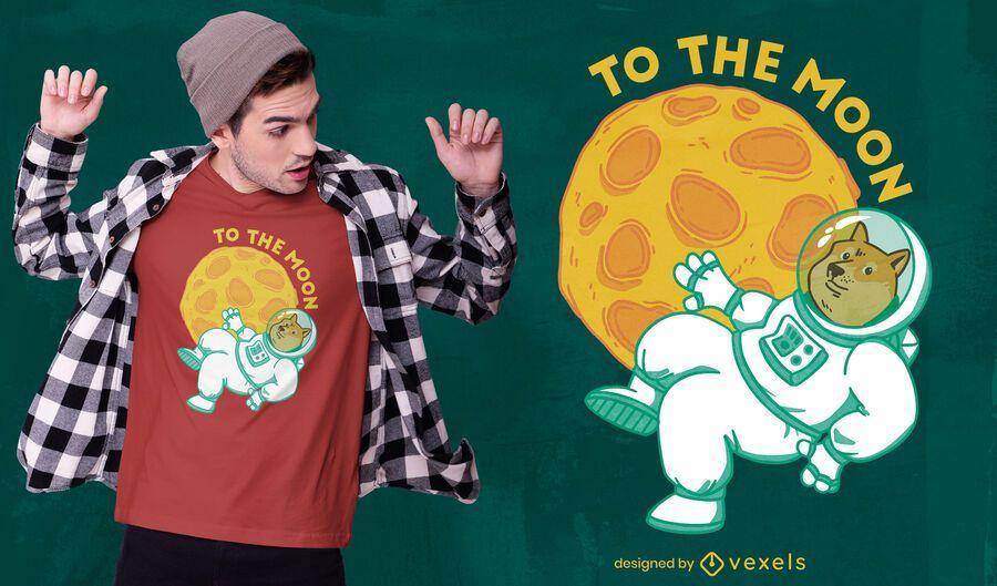 Diseño de camiseta Dogecoin Moon