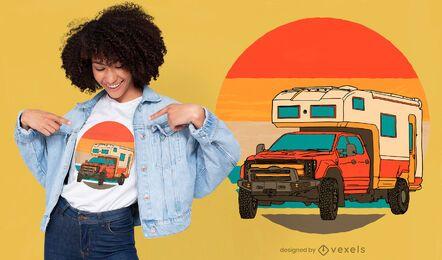 Diseño de camiseta de camper van offroad