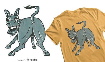 Design engraçado de t-shirt burro