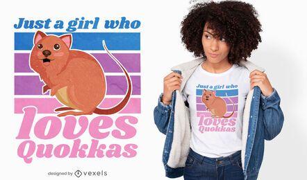 Design de camiseta com citação de garota Quokka