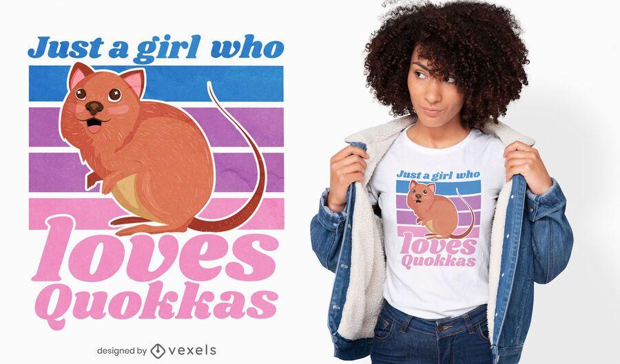 Diseño de camiseta Quokka girl quote
