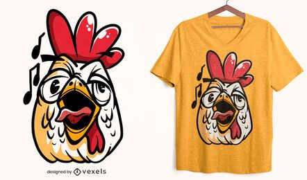 Design de camiseta com cara de galo cantando