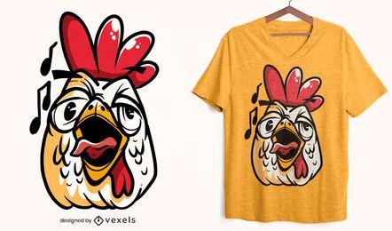 Diseño de camiseta con cara de gallo cantando