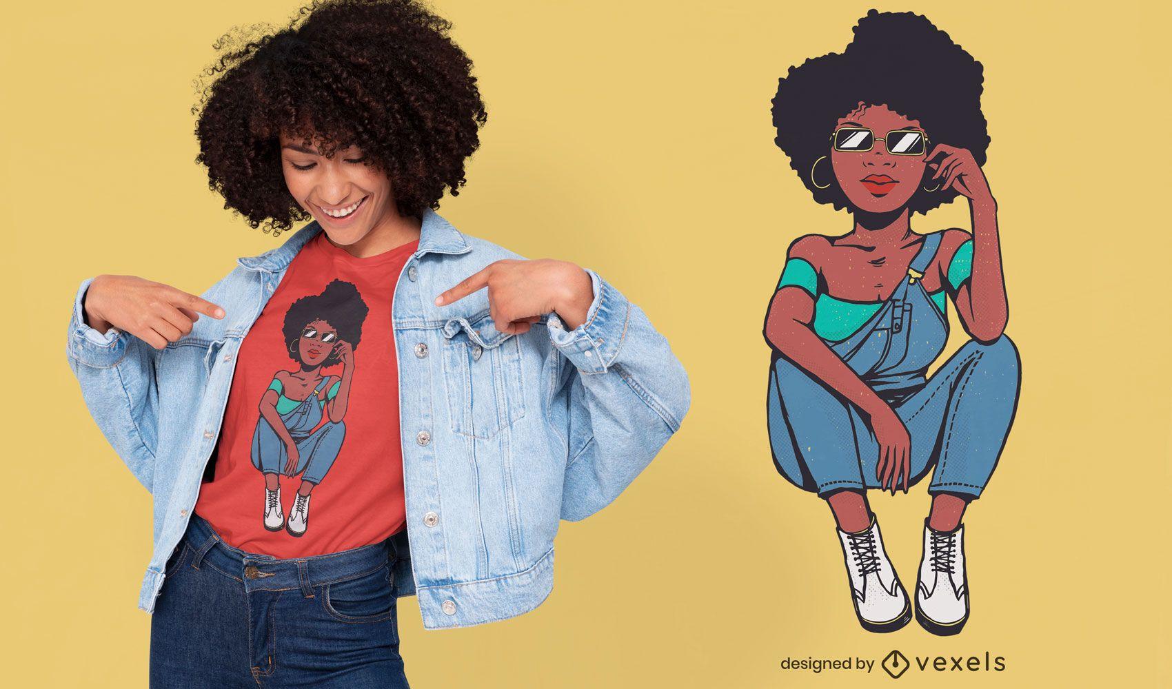 Diseño de camiseta de personaje de modelo moderno afro.