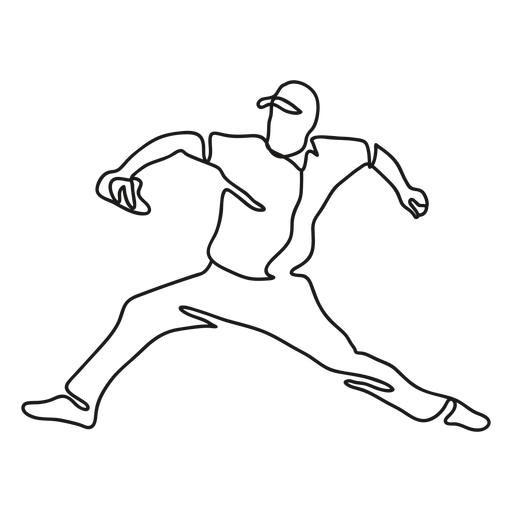 Baseball player throwing ball continuous line
