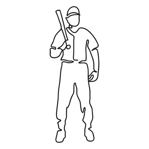 Baseball player standing with bat continuous line