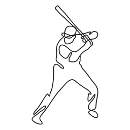 Baseball player with bat continuous line