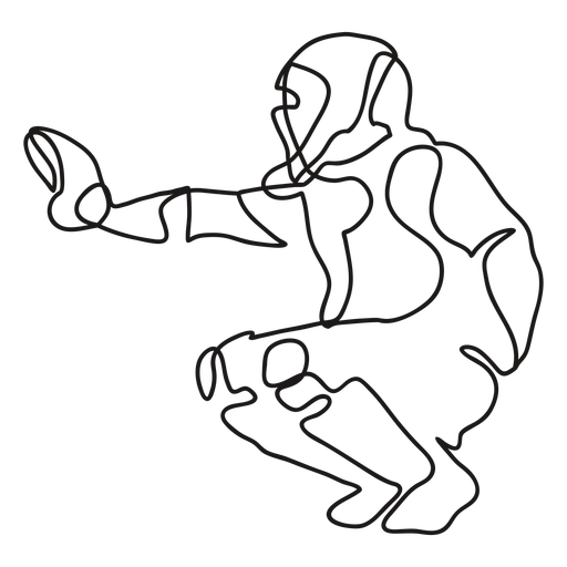 Baseball player catcher continuous line