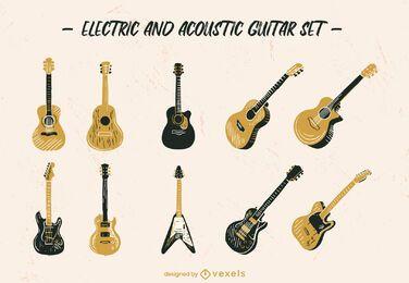 Conjunto de instrumento musical de guitarra desenhado à mão