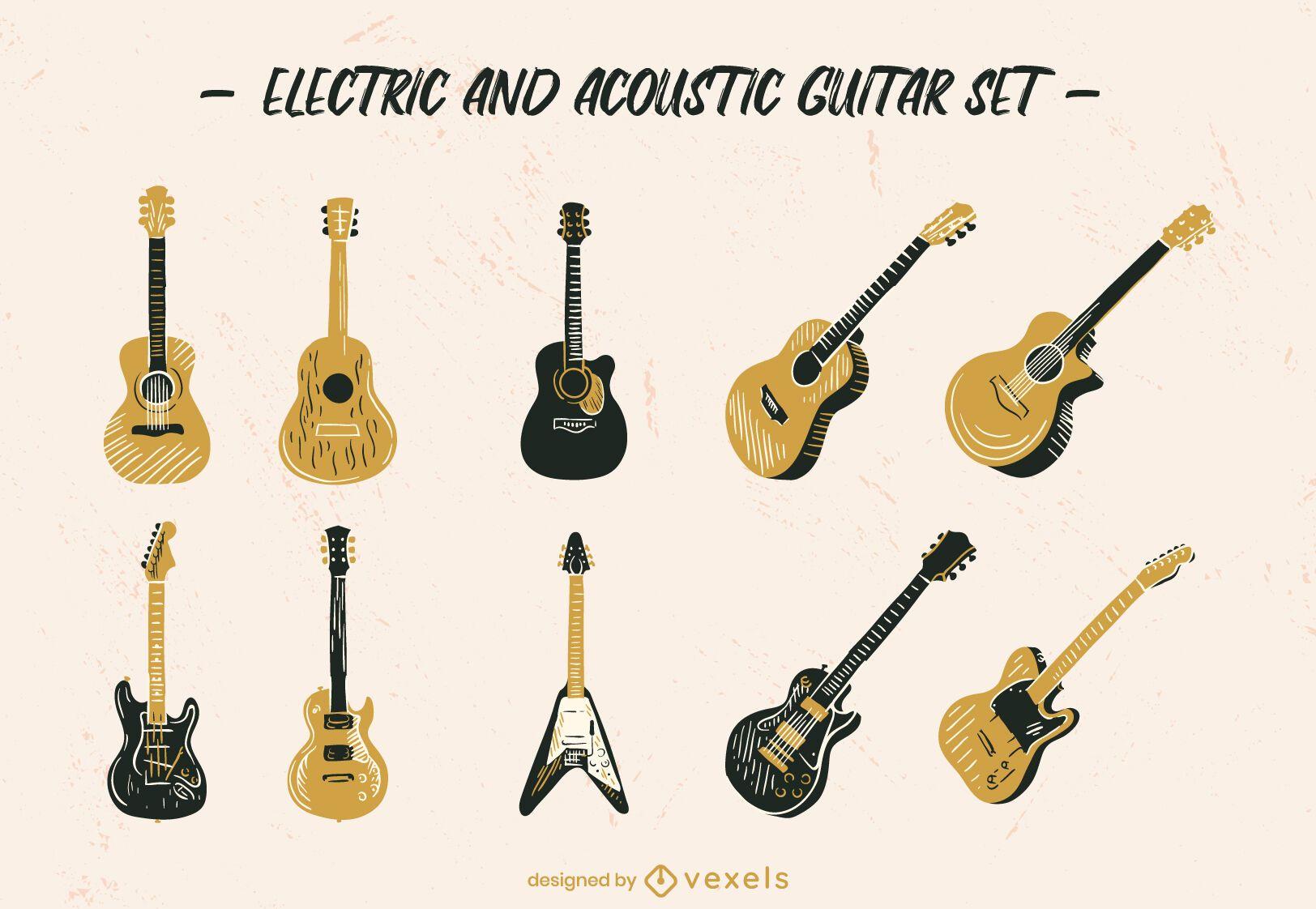 Guitar musical instrument hand-drawn set