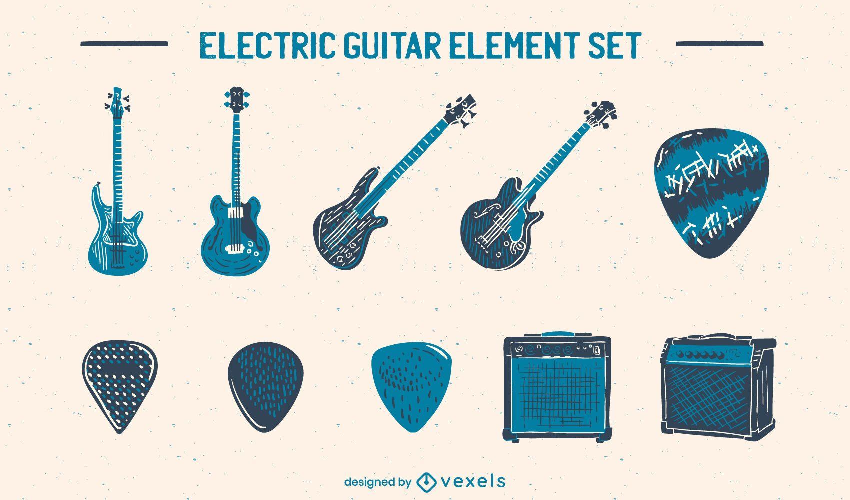 Conjunto de instrumentos musicales de guitarra eléctrica.