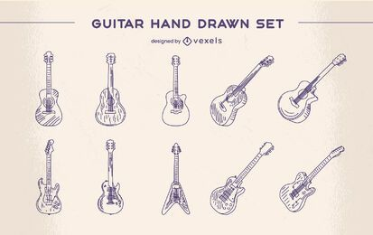 Guitar musical instrument classic hand-drawn set
