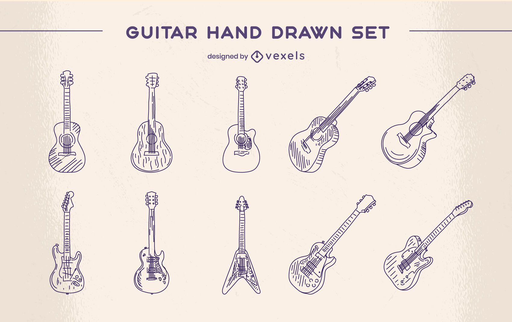 Conjunto clássico de instrumento musical de guitarra desenhado à mão