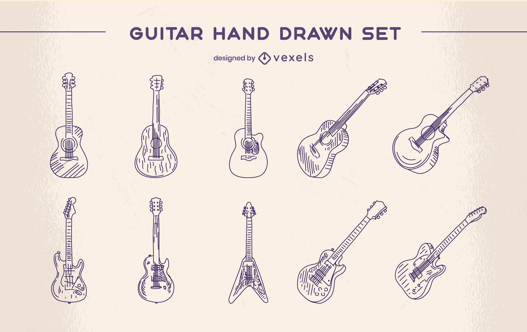 Guitarra instrumento musical clásico conjunto dibujado a mano.