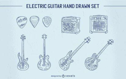 Conjunto de instrumento de guitarra elétrica desenhado à mão