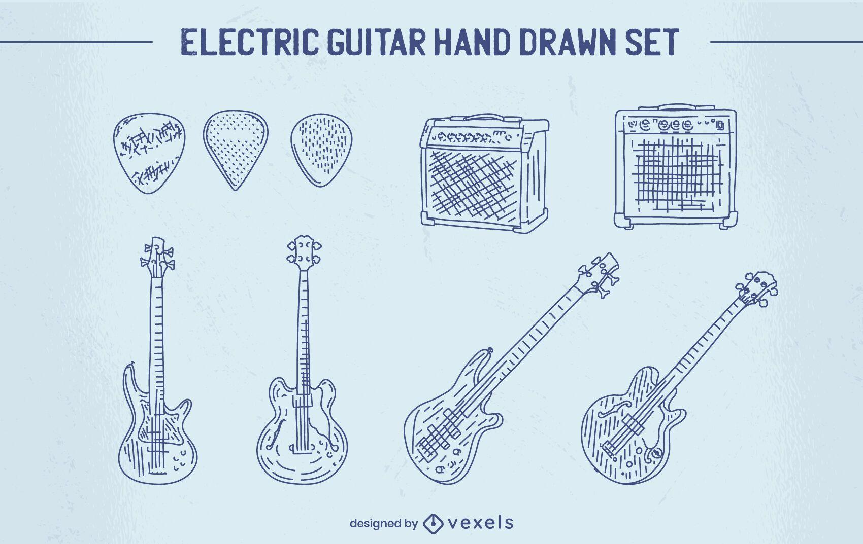 Conjunto de instrumentos de guitarra eléctrica dibujados a mano.
